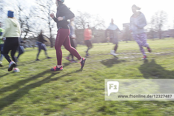 Runners running in circle in sunny park