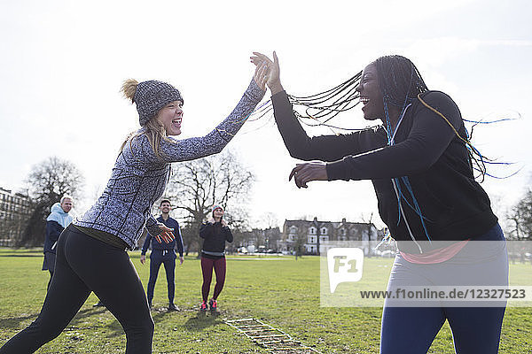Enthusiastic women high-fiving  exercising in sunny park