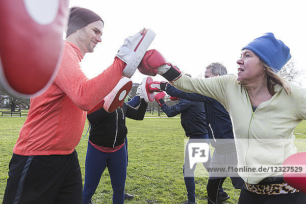 Determined woman boxing in park