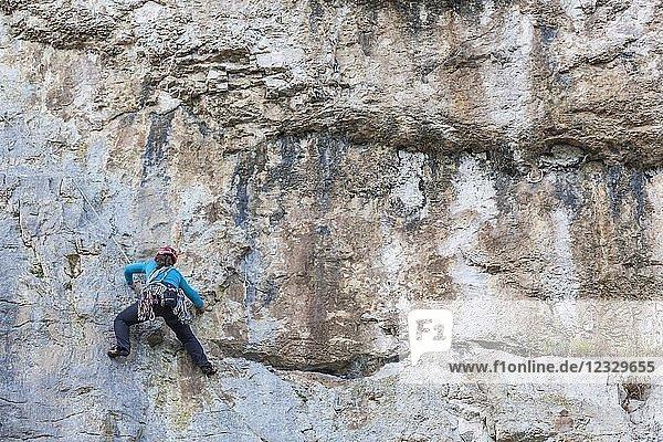 Wales Llandudno Great Orme Female Rock Climber