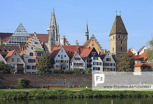 Germany  Baden-Württemberg  Ulm  skyline  Danube River  people