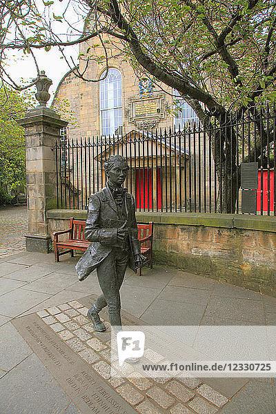 UK  Scotland  Edinburgh  Canongate Church  poet Robert Fergusson statue