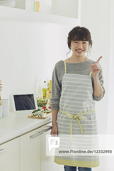 Japanese housewife in the kitchen