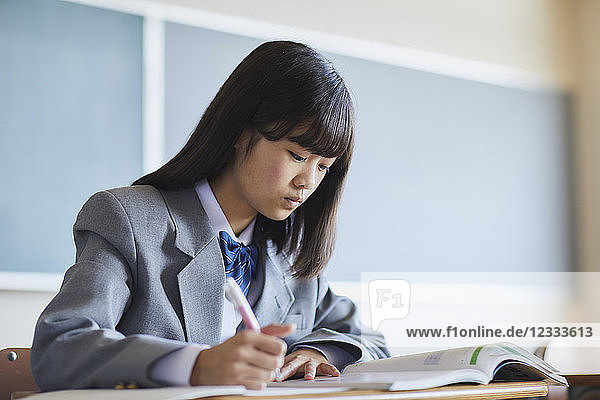 Mixed-race student in the classroom