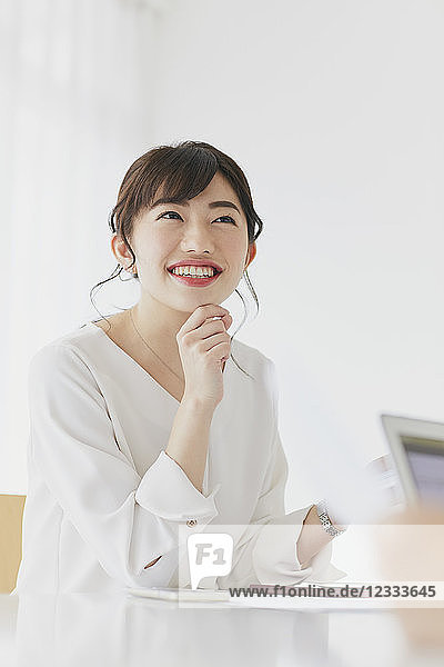 Japanese businesswoman working