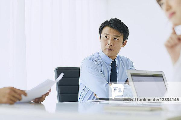 Japanese businessman working