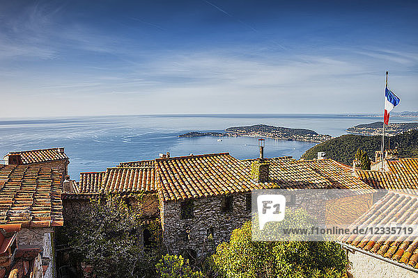 France  Alpes Maritimes  French Riviera  Cote d'Azur  Eze medieval village houses  view to Mediterranean Sea