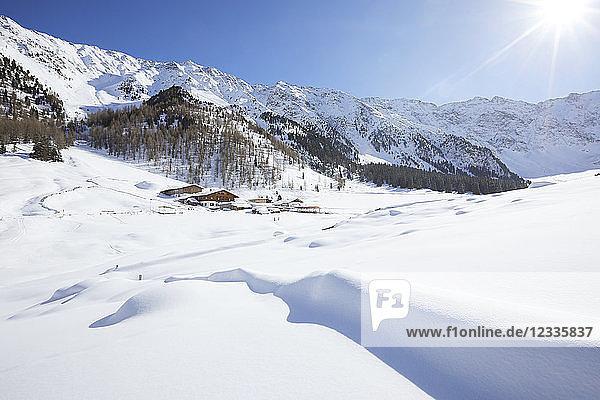 Austria  Tyrol  Kuehtai  winter landscape in backlight