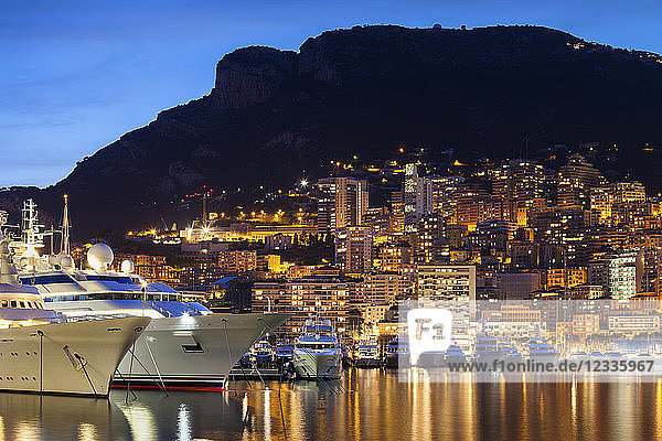 Principality of Monaco  Monaco  Monte Carlo  marina at blue hour