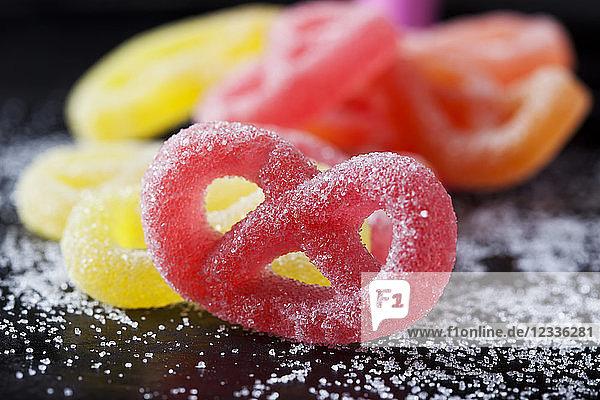 Red sugar pretzel  close-up