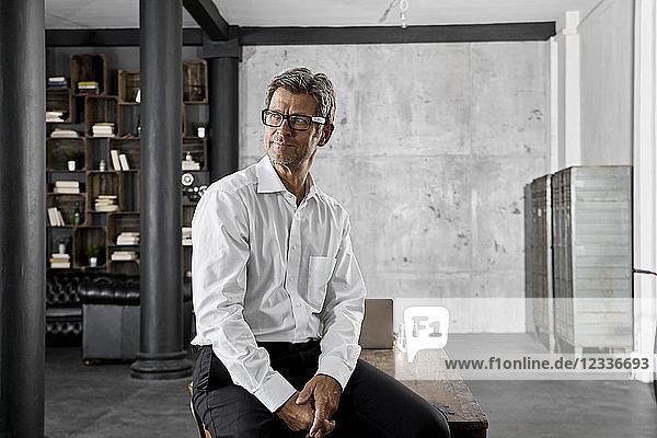Portrait of mature businessman in loft office