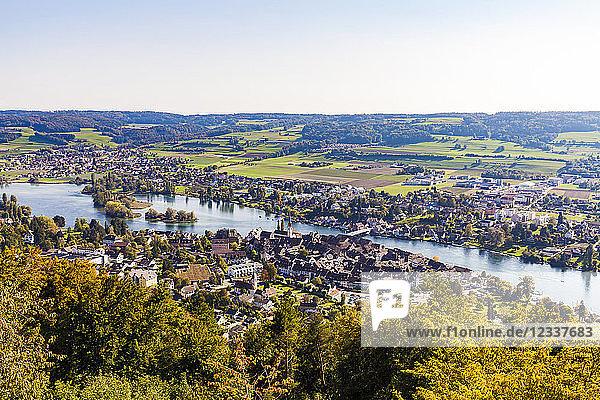 Switzerland  Canton of Schaffhausen  Stein am Rhein  Lake Constance  Rhine river  cityscape