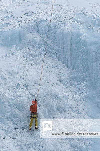 Canada  Banff National Park  ice climber