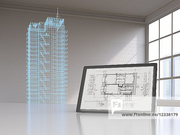 Tablet with blueprint and model of a skyscraper with digital grid  3d rendering
