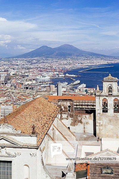Naples,  Vesuvius Volcano and cityscape from San Martino. Campania,  Italy.