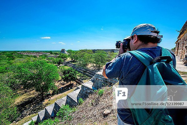 Photographer in Uxmal Archaeological Site  Yucatan Province  Mexico  Central America
