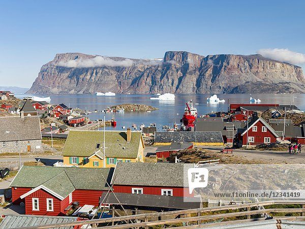 The harbour with typical fishing boats. Small town Uummannaq in the north of west greenland. America  North America  Greenland  Denmark.