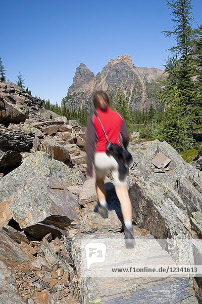 Female hiker motion blurred walking up a trail in scenic rocky mountains. Lake O`Hara area  Yoho National Park  British Columbia  Canada.