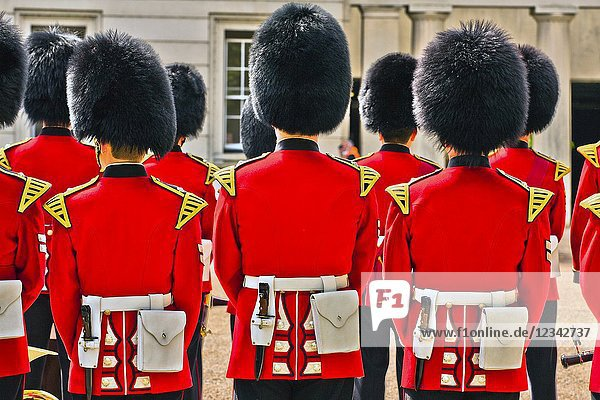The Queen's Guard and Queen's Life Guard or King's Guard and King's Life Guard  Scots Guards at the Changing of the Guard ceremony at Buckingham Palace  City of Westminster  London  England  UK  United Kingdom  Europe.