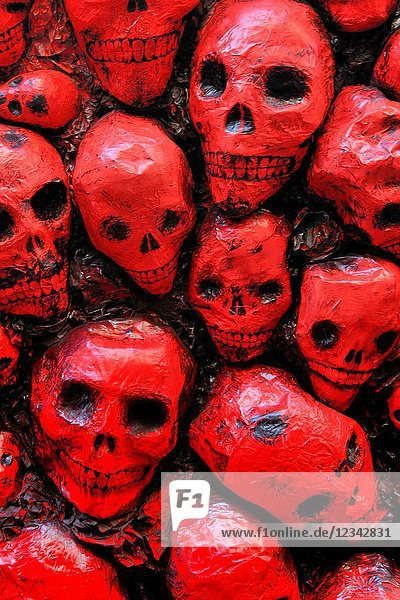 Skulls. Gracia neighborhood festival in August. Festa Major de Gràcia. Barcelona. Catalonia. Spain