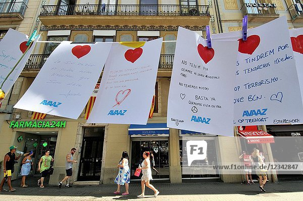 Tribute to the victims. On the afternoon of 17 August 2017  22-year-old Younes Abouyaaqoub drove a van into pedestrians on La Rambla in Barcelona  Catalonia  Spain  killing 13 people and injuring at least 130 others  one of whom died 10 days later on 27 August.