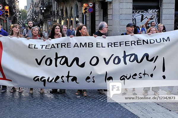 Political demonstration for the independence of Catalonia. September 2017. Barcelona  Catalonia  Spain