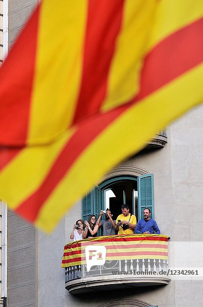 Political demonstration for the independence of Catalonia. Senyeres  Catalan flags. September 2017. Barcelona  Catalonia  Spain