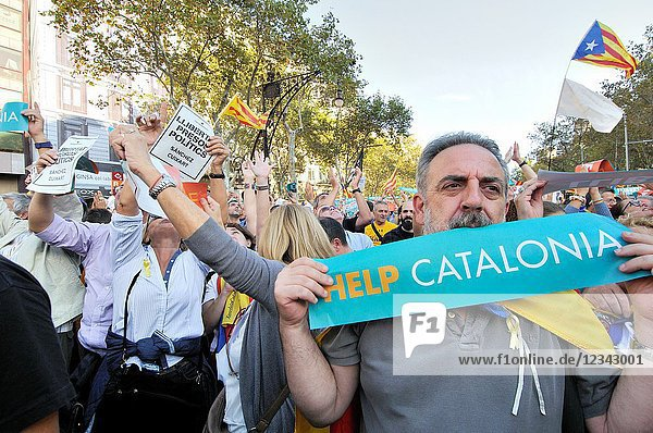 Political demonstration for the independence of Catalonia. October 2017. Barcelona  Catalonia  Spain