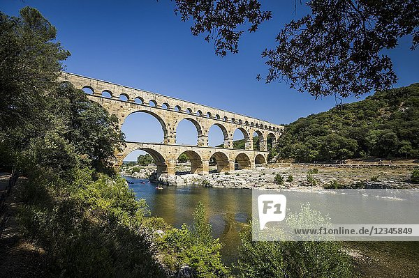 View of roman aqueduct Pont du Gard (department of Gard  region of Occitanie  France).