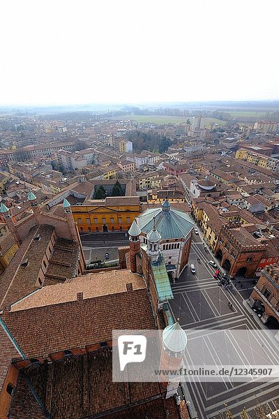 View of Cremona from the Torrazzo  the bell tower of the Cathedral of Cremona  Lombardy  Italy