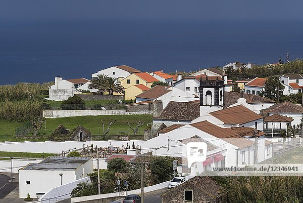 Portugal  Azores  Sao Miguel Island  Bretanha  elevated view of town originally settled by immigrants from Brittany in France.