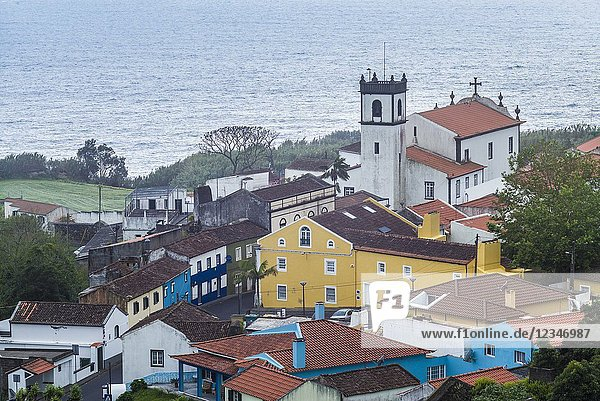 Portugal  Azores  Sao Miguel Island  Feteiras  elevated town view.