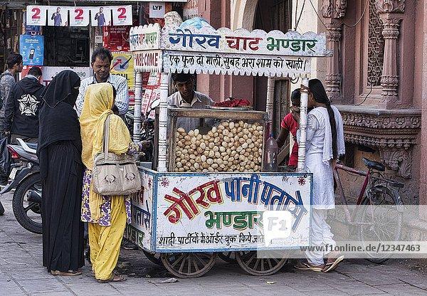 Pani puri  a top Indian snack  Jodhpur  Rajasthan  India.