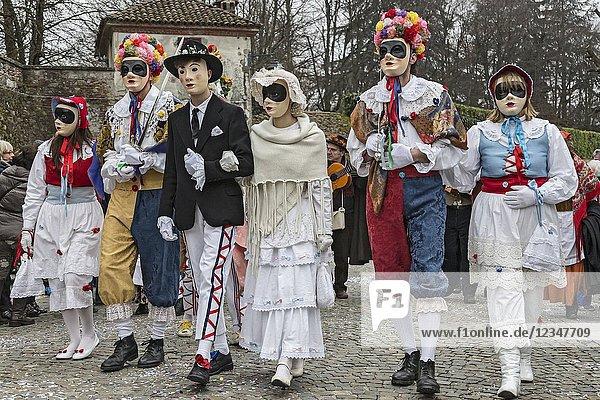 Rocca Grimalda  Alessandria  Piedmont  Italy. Traditional carnival La Lachera of Rocca Grimalda.