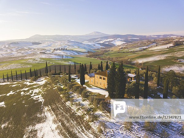 Orccia valley in winter season  Tuscany  Siena province  Italy  Europe.