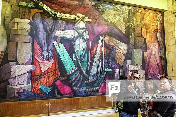 Mexico  Mexico City  Ciudad de  Federal District  Distrito  DF  D.F.  CDMX  Mexican  Hispanic  Centro Historico Historic Center Centre  Palacio de Bellas Artes  Palace of Fine Arts  cultural center  interior  Art Deco  mural  Jorge Gonzalez Camarena  girl  teen  man  woman  North America American