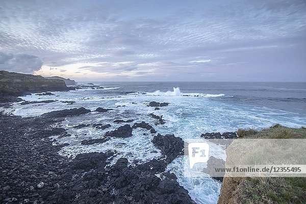 Seascape by twilight North of Sao Miguel island  Azores  Portugal.