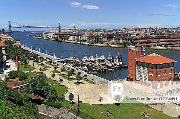 Vizcaya (Spain). Hanging bridge of Portugalete in the estuary of Bilbao.