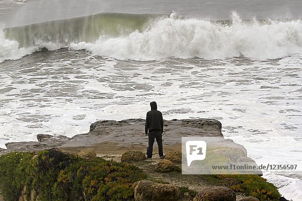 A man watches from a cliff as waves crash in Santa Cruz  California  United States. RM.