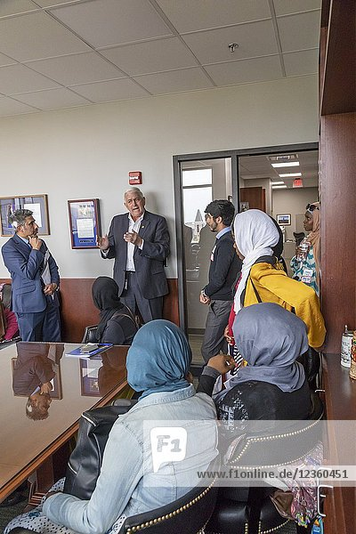Lansing  Michigan - Muslim high school students from Detroit's Al-Ikhlas Training Academy visit Republican State Senator Ken Horn to discuss issues they are concerned about. The visit was part of the annual Michigan Muslim Capitol Day at the state capitol.