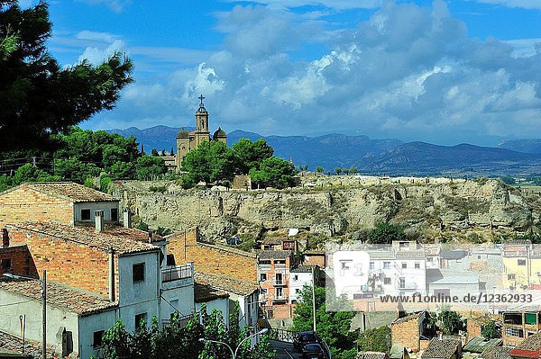 Panoramic view and the church of Holy Christ. Balaguer town  Lerida province  Spain