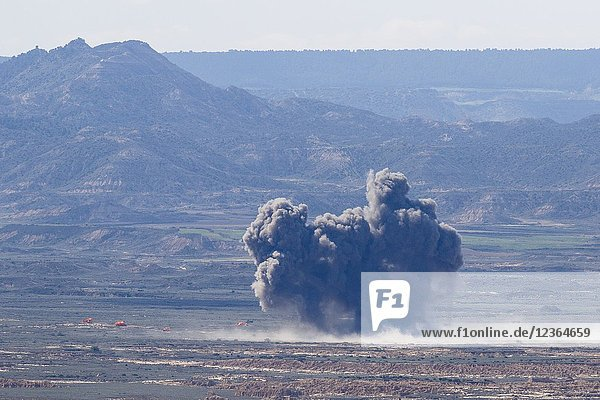 F-18. Military manoeuvres at Bardenas Reales shooting range. Operation 'Tormenta 2018'. Military zone. Bardenas Reales. Navarra. Spain. Europe. 09/05/2018.