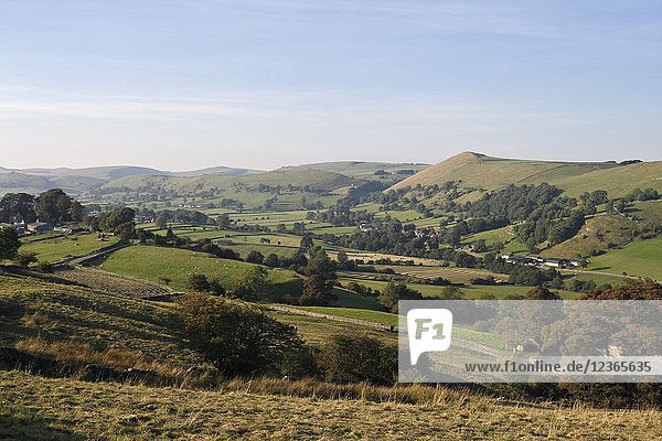 Upper Dovedale in Staffordshire in the Peak District National Park. England UK.