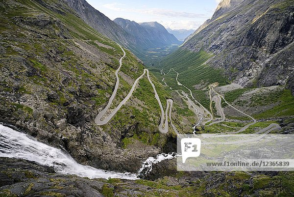 Norway  More og Romsdal  Trollstigen road is part of the Norwegian Scenic Route  road with 11 hairpin turns.