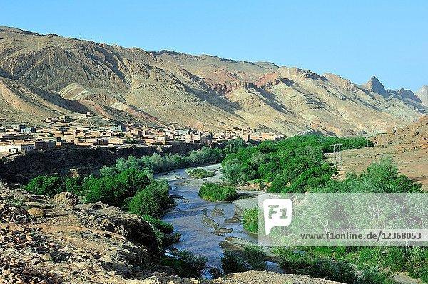 Valley of river M'goun. Boutaghrar town. High Atlas. Morocco