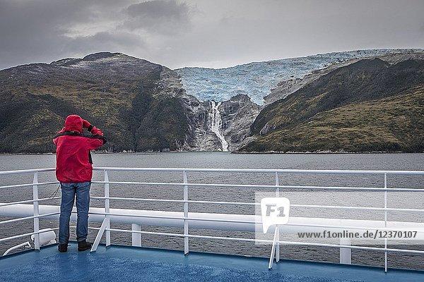 Glacier Romanche  in Avenue of the glaciers from Ventus cruise ship  PN Alberto de Agostini  Tierra del Fuego  Patagonia  Chile.