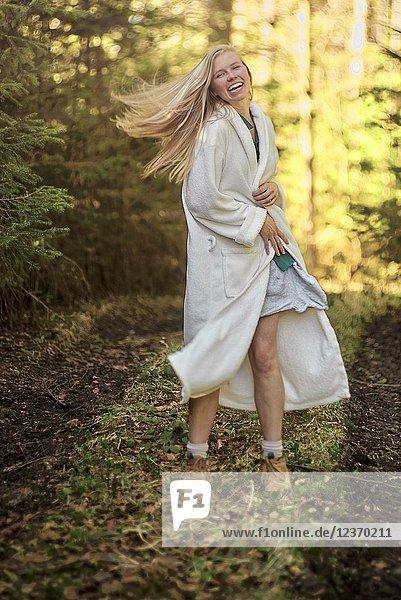 Woman in nature. Waakirchen  Bavaria  Germany.
