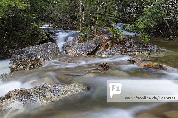 Just above 'The Basin' viewing area along the Pemigewasset River in Franconia Notch State Park of Lincoln  New Hampshire USA during the autumn months.