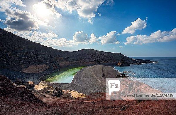 El Golfo  the green lagoon  Lanzarote  Canary island  Spain  Europe.