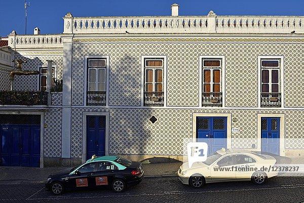 Municipal water company building in Street of St. Andre  Beja  Alentejo region  Portugal  southwertern Europe.